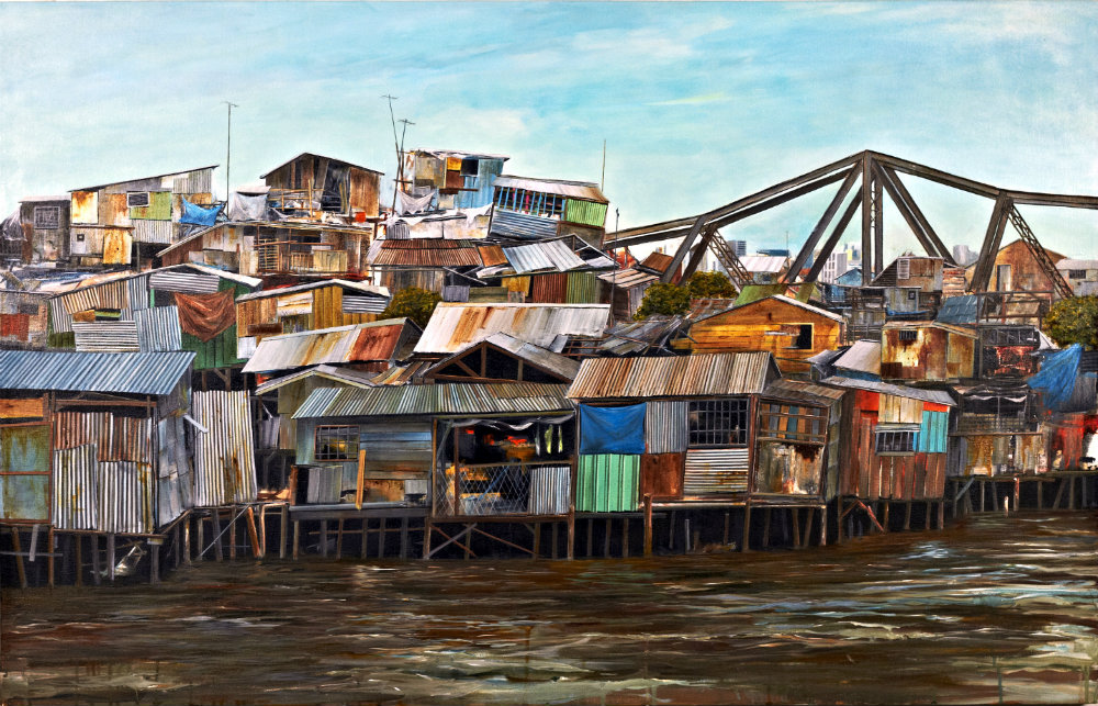 Shanty Houses on river's edge painting